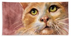 Green Eyes Hand Towel by Judith Levins