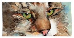 Green Eyes Hand Towel by Maria's Watercolor
