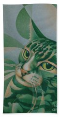 Hand Towel featuring the painting Green Feline Geometry by Pamela Clements