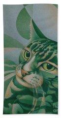Green Feline Geometry Hand Towel