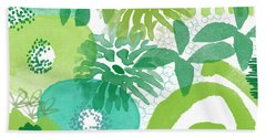 Green Garden- Abstract Watercolor Painting Bath Towel