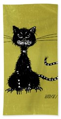 Green Grunge Evil Black Cat Hand Towel