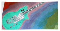 Bath Towel featuring the painting Green Guitar by Magdalena Frohnsdorff