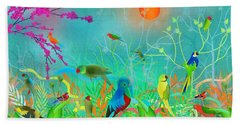 Green Landscape With Parrots - Limited Edition Of 15 Bath Towel
