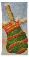 Bath Towel featuring the painting Green Mittens by Mary Ellen Mueller Legault