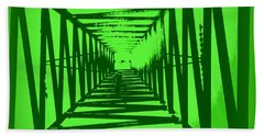 Green Perspective Bath Towel by Clare Bevan
