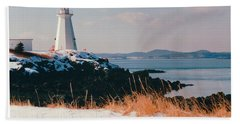 Green Point Light In Winter Hand Towel