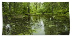 Hand Towel featuring the photograph Green Blossoms On Pond by Jerry Cowart
