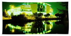 Green Power- Autzen At Night Hand Towel