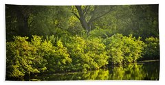 Green Reflections In Water Hand Towel