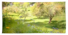 Bath Towel featuring the photograph Green Spring Meadow With Flowers by Brooke T Ryan