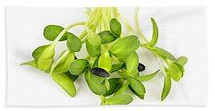 Green Sunflower Sprouts Hand Towel