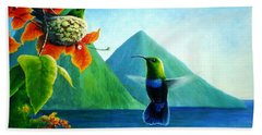 Green-throated Carib And Bougainvillea Bath Towel