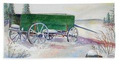 Green Wagon Bath Towel by Christine Lathrop