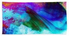 Bath Towel featuring the painting Green Wave - Vibrant Artwork by Lilia D
