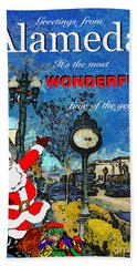 Alameda Christmas Greeting Hand Towel