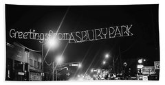 Greetings From Asbury Park New Jersey Black And White Hand Towel