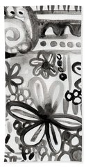 Grey Garden- Abstract Floral Painting Bath Towel