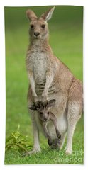 Grey Kangaroo And Joey  Hand Towel
