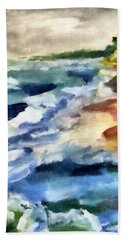 Grey Sky Day On The Lake Bath Towel