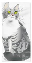 Grey Tiger Cat Hand Towel