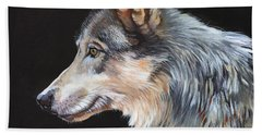 Grey Wolf Bath Towel by J W Baker