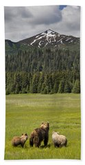 Grizzly Bear Mother And Cubs In Meadow Hand Towel