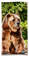 Grizzly Bear - Painterly Hand Towel