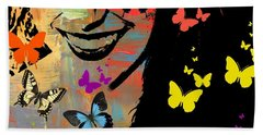 Groovy Butterfly Gal Bath Towel by Kathy Barney
