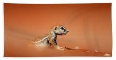 Ground Squirrel On Red Desert Sand Bath Towel