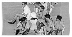 Group Of Men Sunbathing Hand Towel
