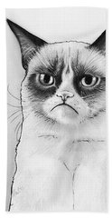 Grumpy Cat Portrait Hand Towel by Olga Shvartsur