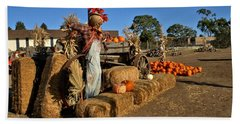 Hand Towel featuring the photograph Guarding The Pumpkin Patch by Michael Gordon