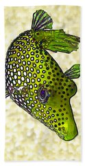 Guinea Fowl Puffer Fish In Green Hand Towel