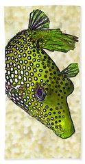 Guinea Fowl Puffer Fish In Green Bath Towel