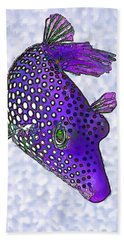 Guinea Fowl Puffer Fish In Purple Bath Towel by ABeautifulSky Photography