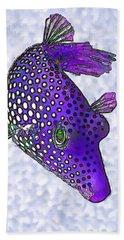 Guinea Fowl Puffer Fish In Purple Hand Towel