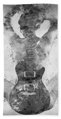 Bath Towel featuring the digital art Guitar Siren In Black And White by Nikki Smith