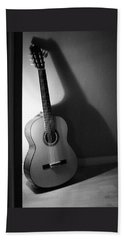 Guitar Still Life In Black And White Bath Towel