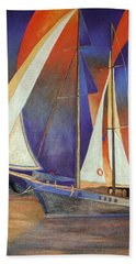 Bath Towel featuring the painting Gulet Under Sail by Tracey Harrington-Simpson