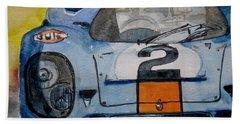 Bath Towel featuring the painting Gulf Porsche by Anna Ruzsan
