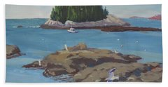 Gulls At Five Islands Bath Towel