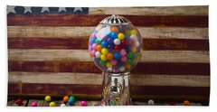 Gumball Machine And Old Wooden Flag Bath Towel