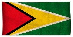 Guyana Flag Vintage Distressed Finish Bath Towel