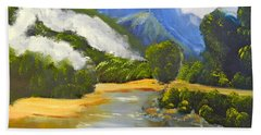 Hand Towel featuring the painting Haast River New Zealand by Pamela  Meredith