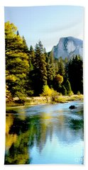Half Dome Yosemite River Valley Hand Towel by Bob and Nadine Johnston