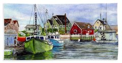 Peggys Cove Nova Scotia Watercolor Hand Towel