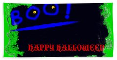 Hand Towel featuring the digital art Halloween Boo by Christopher Rowlands