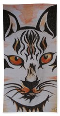 Bath Towel featuring the painting Halloween Wild Cat by Teresa White