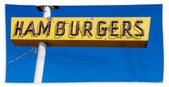 Hamburgers Old Neon Sign Hand Towel